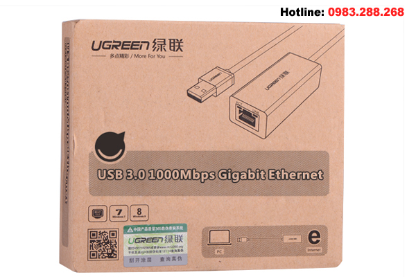 USB 3.0 to Lan Ugreen 20255 Gigabit 10/100/1000Mbps-ABS