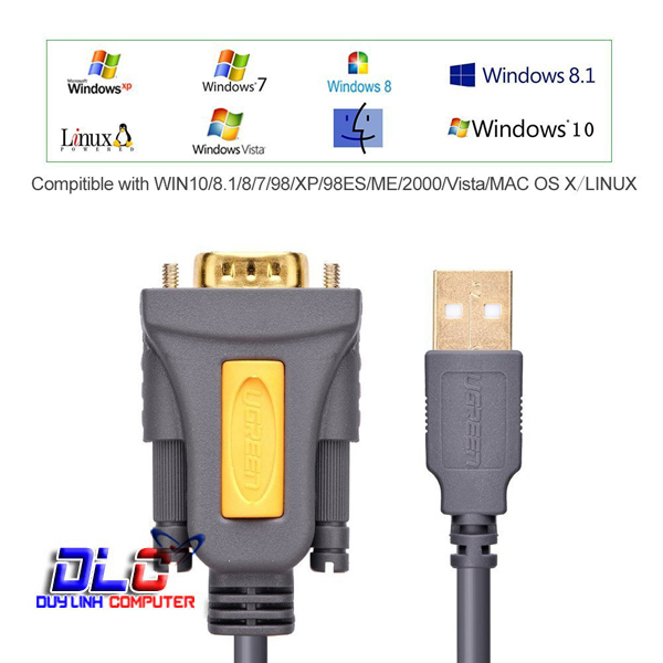 Cáp USB 2.0 to COM DB9 RS232 2M UGREEN 20222
