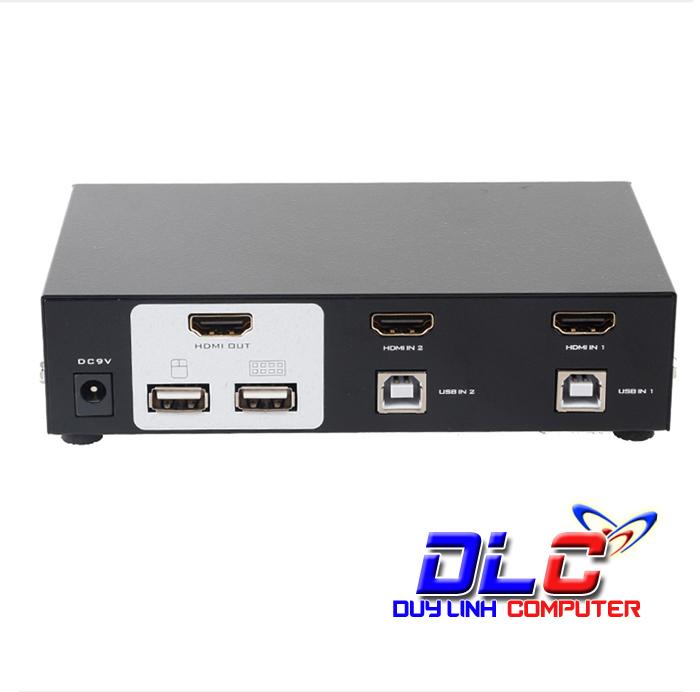 Thiết bị chuyển đổi 2 máy tính dùng 1 màn hình HDMI Auto 2 USB KVM ...