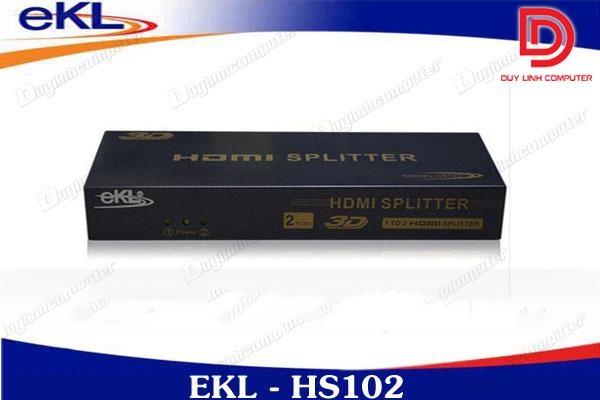 Bộ chia HDMI 1 ra 2 EKL HS102 - hỗ trợ chuẩn 1.4v, 3D
