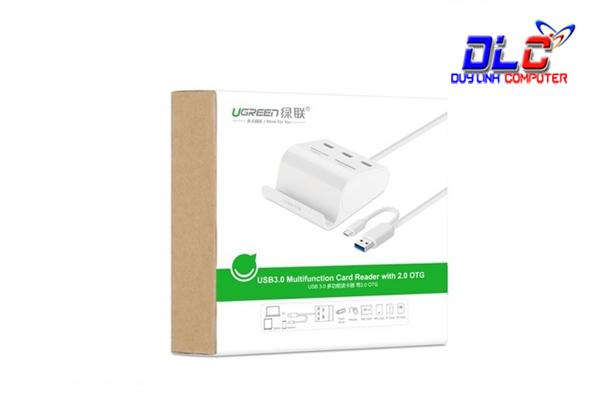 Bộ chia USB 3.0 Ugreen 30343 tích hợp OTG, đầu đọc thẻ nhớ chính hãng