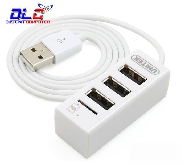 Bộ chia USB 2.0 ra 3 cổng tích hợp đọc thẻ MicroSD Unitek Y-2150
