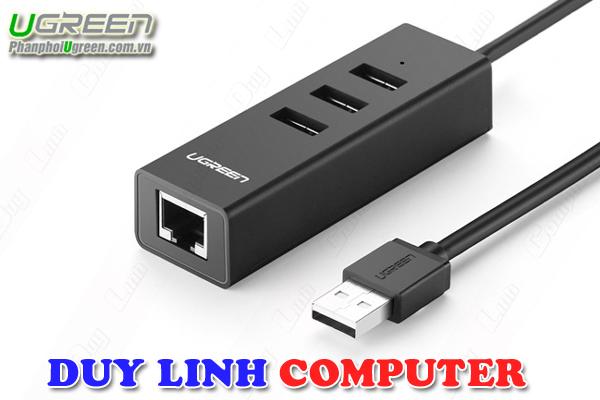 Bộ chia USB2.0 / 3 cổng tích hợp Lan 10/100Mb cao cấp Ugreen 30298 (Đen)