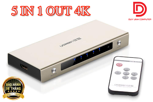Bộ Gộp HDMI 5 Vào 1 Ra Ugreen 20680 Hỗ Trợ 3D, 4K Cao Cấp