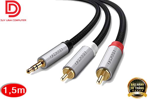 Cáp Audio 3.5mm sang 2 đầu RCA Ugreen 40842 dài 1,5m chính hãng