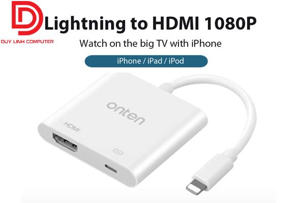 Cáp chuyển đổi Lightning ra HDMI Onten OTN-7565 màu trắng cao cấp