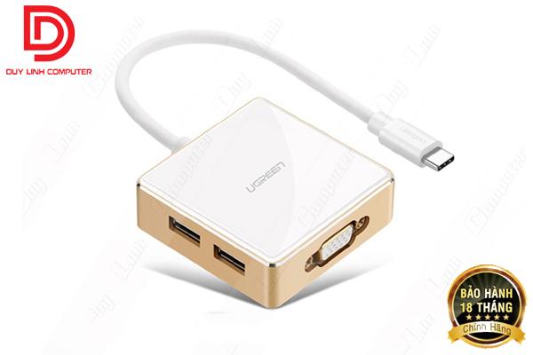 Cáp chuyển đổi USB Type C to VGA + Hub 1 USB 3.0, 2 USB 2.0  Ugreen 30442