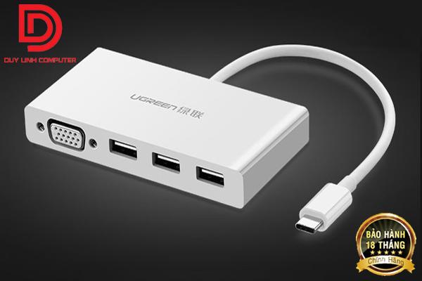 Cáp chuyển USB Type C to VGA, Hub USB 3.0 Ugreen 40375