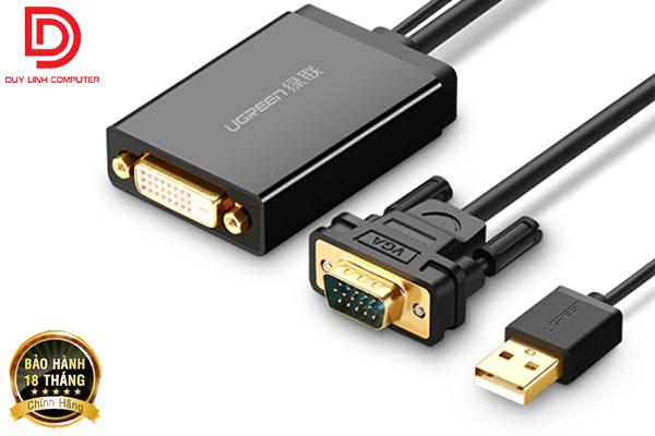Cáp chuyển VGA to DVI 24+1 dài 0.5m Chính hãng Ugreen 30839 hỗ trợ Full HD