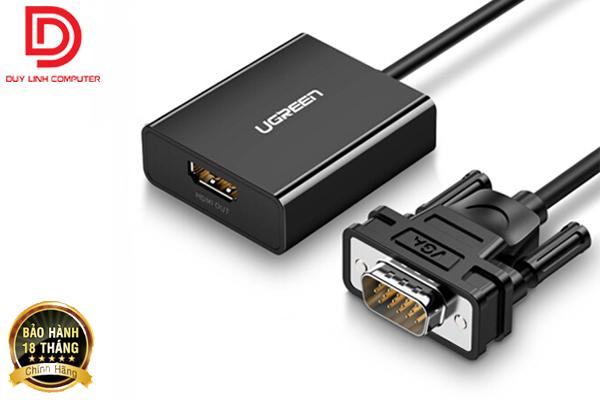 Cáp chuyển VGA to HDMI tích hợp Audio Ugreen 60814 hỗ trợ Full HD