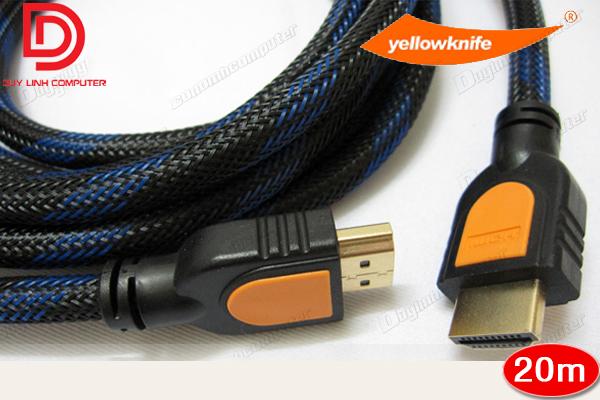Cáp HDMI 20m YellowKnife chính hãng - Chuẩn 1.4 Hỗ trợ 4K, 3D