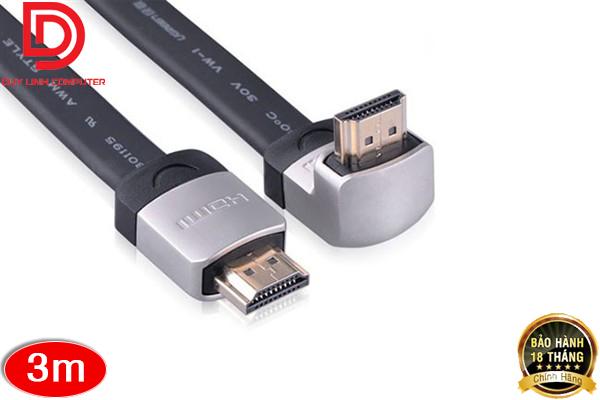 Cáp HDMI 3m bẻ góc lên 90 độ dẹt, mỏng Ugreen 10284 hỗ trợ 4K, 3D