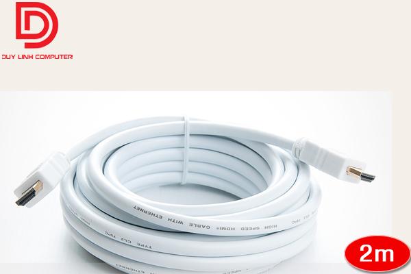 Cáp HDMI dài 2m màu trắng hỗ trợ chuẩn cao 4K*2K, 3D