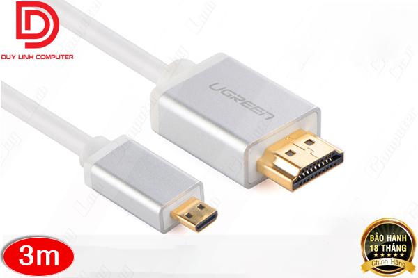 Cáp Micro HDMI to HDMI 3M Trắng chính hãng Ugreen 11145