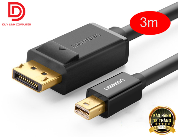Cáp Mini Displayport to Displayport 3M UGREEN 10434 mạ vàng cao cấp, hỗ trợ 4K 2K (Đen)