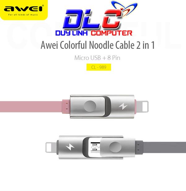 Cáp Sạc 2 in 1 Dài 1M Awei CL-989 Cho iPhone và Android Chính Hãng