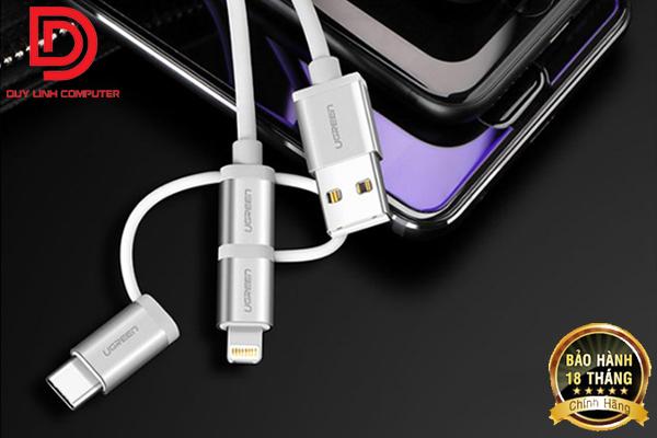 Cáp Sạc 3 Trong 1 USB-C, Micro USB, Lightning 2M Ugreen 30462