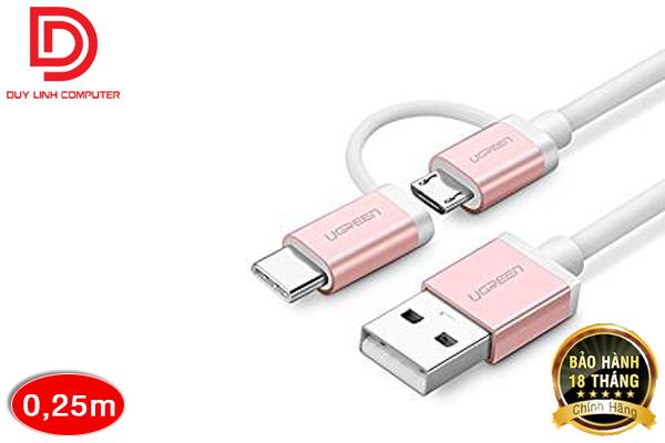 Cáp Sạc Điện Thoại 2 Trong 1 Micro USB và Type C Ugreen 30541