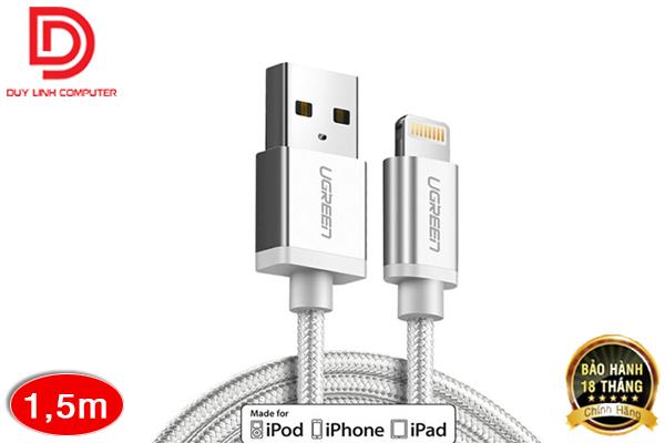 Cáp Sạc iPhone 1,5M Ugreen 30585 Cao Cấp, Vỏ Dù Siêu Bền