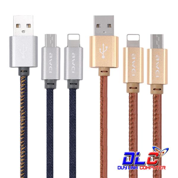 Cáp Sạc Nhanh 1M Awei CL-987 Cho iPhone & Samsung Chính Hãng