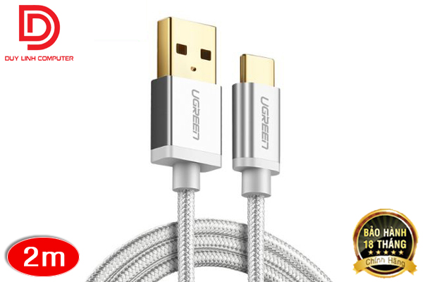 Cáp sạc USB 2.0 to Type C dài 2m Ugreen 20814 bọc nylon cao cấp