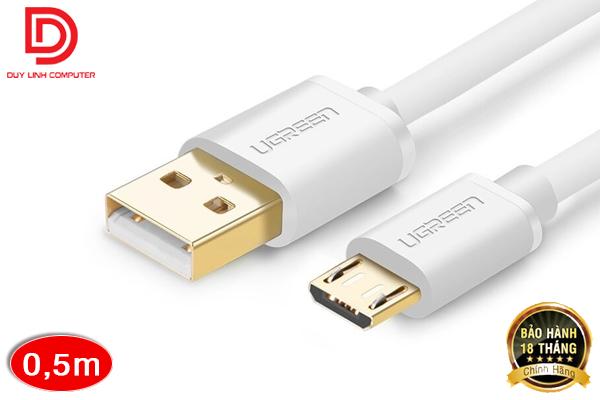 Cáp USB 2.0 AM to Micro USB 0.5M UGREEN US125 UG-10847 (trắng)
