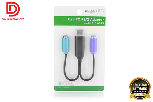 Cáp USB 2.0 TO PS/2 UGREEN 20219 cho phím chuột