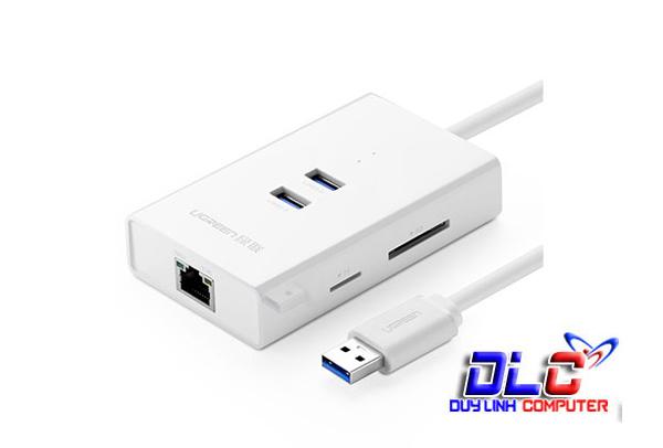 Cáp USB 3.0 to Lan Gigabit Ethernet chính hãng Ugreen 20248 tích hợp 2 USB 3.0 + SD/  Đọc thẻ TF