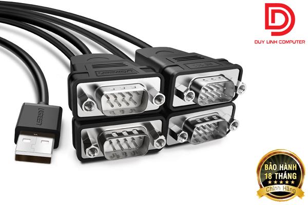 Cáp USB to 4 cổng RS232 (Com) chính hãng Ugreen 30770