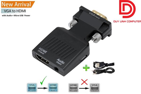 Đầu chuyển đổi VGA sang HDMI có Audio giá rẻ