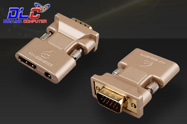 Đầu chuyển HDMI sang VGA chính hãng Hagibis hỗ trợ Audio (Vỏ hợp kim cao cấp)