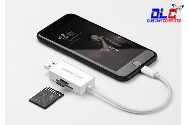 Đầu đọc thẻ nhớ SD/TF cho Iphone, Ipad chuẩn Lightning Ugreen 30612