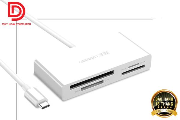 Đầu đọc thẻ USB Type C Ugreen 40444 (TF / SD 3.0 / CF / MS) cao cấp