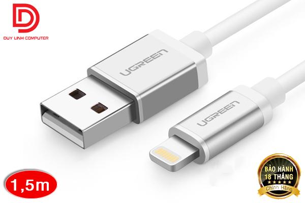 Dây sạc USB-Lightning 1,5M UGREEN US131 UG-10813 cho iphone 5/5C/5S/6/6plus/ipad mini (vỏ nhôm cao cấp)