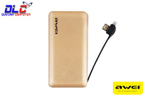 Pin sạc dự phòng Awei P97K tích hợp sẵn cáp sạc cho iPhone, iPad