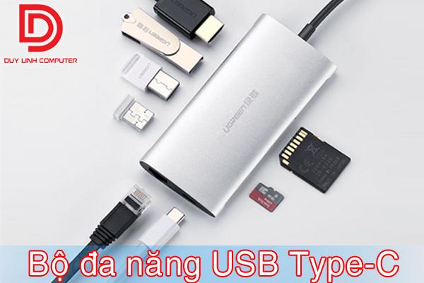 Ugreen 50516 - Bộ chuyển đa năng USB Type-C to HDMI, Lan, USB 3.0, SD/TF, sạc Type-C