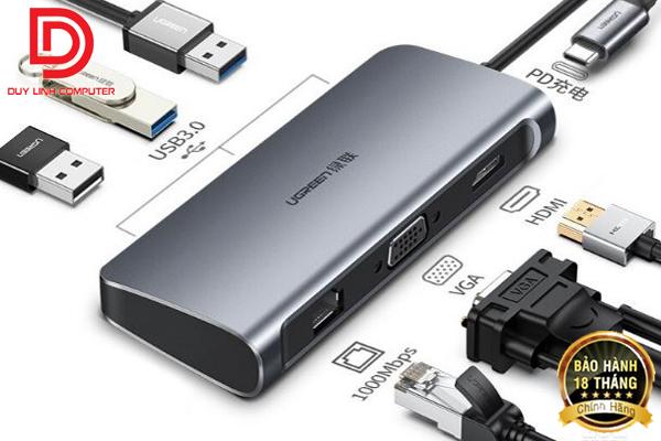 Ugreen 60557 - Cáp USB Type C to HDMI, VGA, Lan, USB 3.0, USB C hỗ trợ sạc