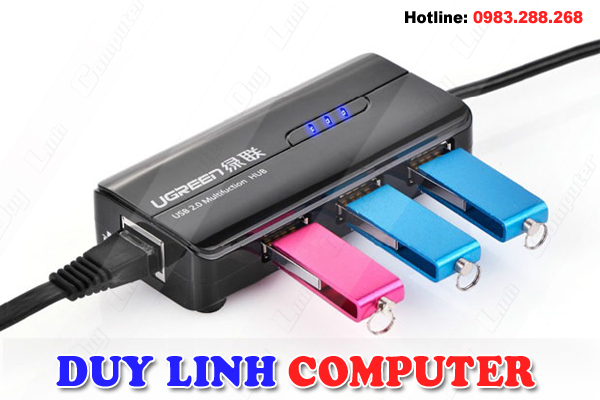 USB 2.0 to Lan 10/100Mbps + Chia USB 3 cổng 2.0 chính hãng Ugreen UG-20264