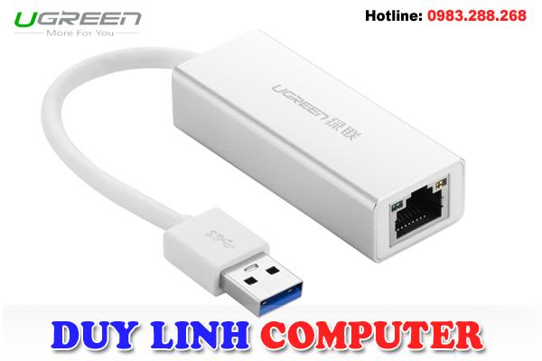 USB 3.0 to LAN Vỏ nhôm chính hãng Ugreen 20258 tốc độ 10/100/1000Mbps Gigabit